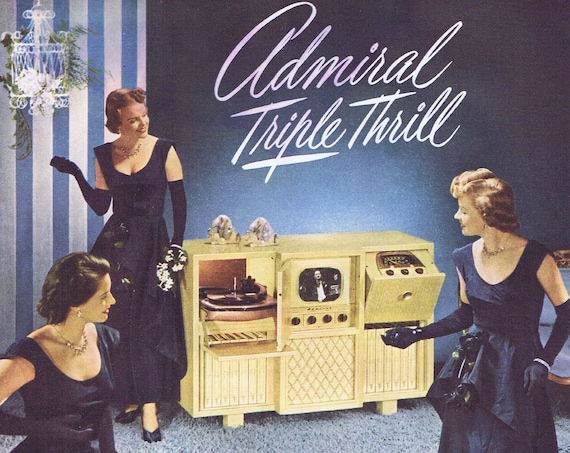 Classy Pretty Ladies 1948 Admiral Old Home Entertainment TV and Record Player