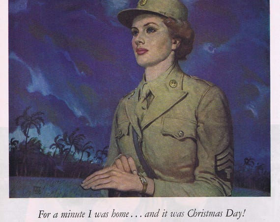 1944 WW2 Woman Soldier Gruen Precision Watch Christmas Original Vintage Advertisement Wonderful and Very Moving Art Drawing