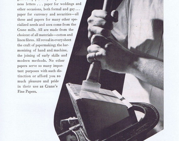 1952 Crane's Fine Papers Original Vintage Advertisement