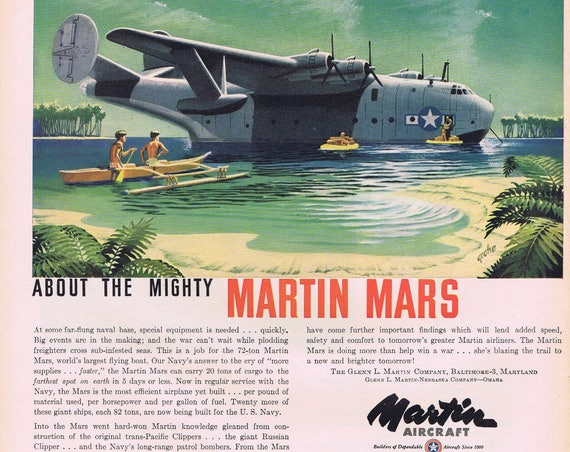 1944 Mighty Martin Mars World's Largest Flying Boat or Bell & Howell Opti-onics Cameras Original Vintage Ad