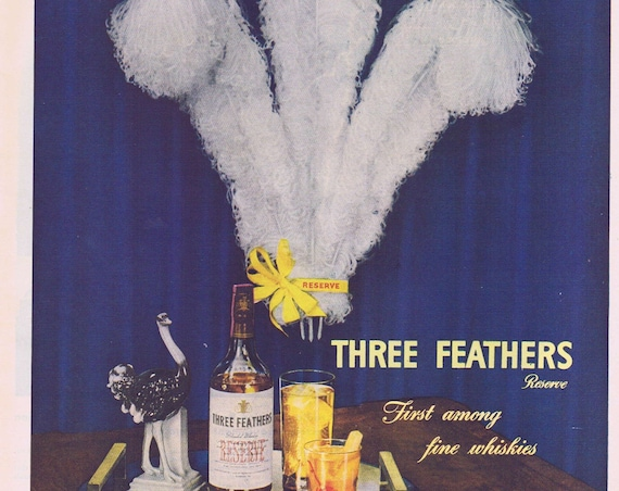 1944 Three Feathers Reserve Blended Whiskey Original Vintage Advertisement Also Buy Extra War Bonds