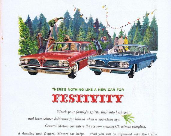 1961 General Motors Pontiac Safari Station Wagon and Tempest Sedan Original Vintage Automobile Advertisement at Christmas Tree Farm.