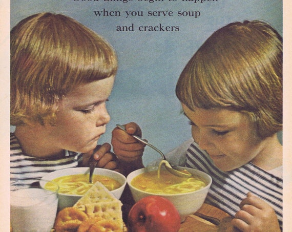 1961 Campbell's Chicken Noodle Soup and Cute Twin Girls Original Vintage Advertisement