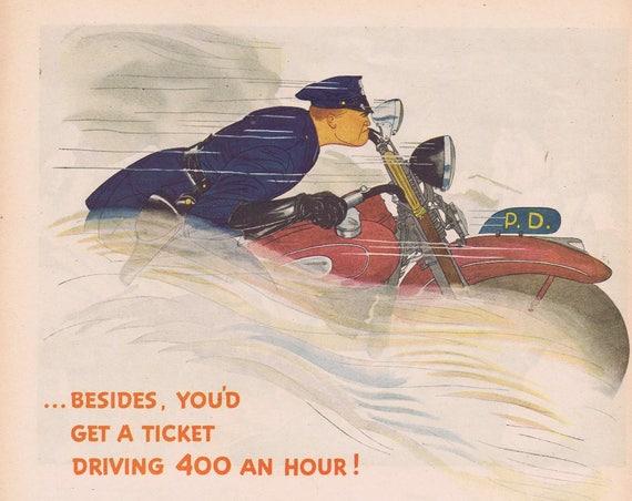 1944 Policeman on Motorcycle Sky Chief Gasoline Original Vintage Advertisement Great Vintage Art