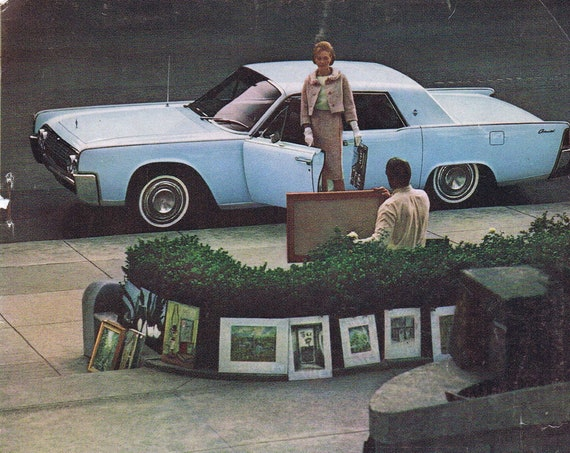 1964 Lincoln Continental Original Vintage Automobile Advertisement Stopping for an Art Sale