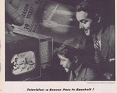 1947 RCA Victor Television Father and Son Watching Baseball Original Vintage Ad Every New York Yankees, Giants, Brooklyn Dodgers Game on TV