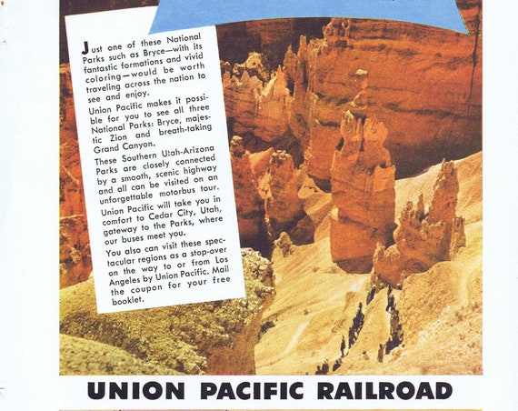1952 Union Pacific Railroad Trips to 3 National Parks Original Vintage Advertisement