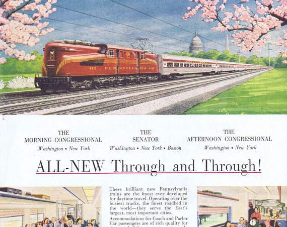 1952 Pennsylvania Railroad Travel Original Vintage Advertisement