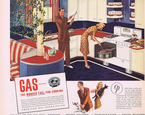 1941 His and Hers Gas Appliances  or Zerex Anti-Freeze with Duck Original Vintage Advertisement Neat Old Kitchen and Appliance Art