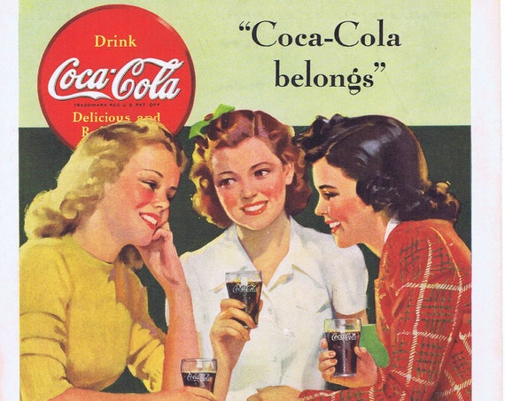 1941 Coca-Cola Young Girls Enjoying Coke or Travel to Hawaii Ocean of Peace Original Vintage Advertisement