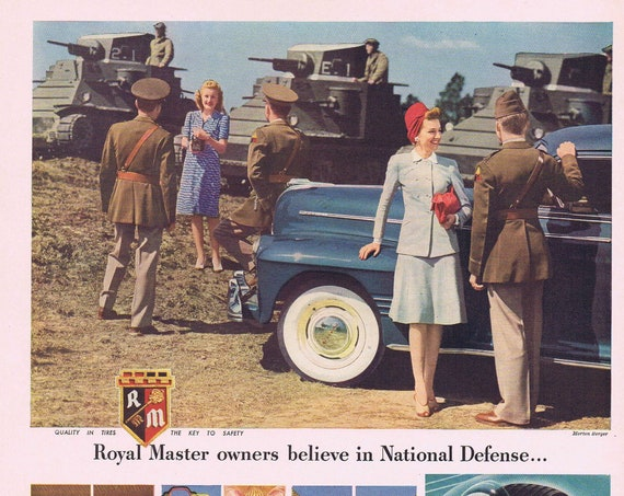 1941 Pretty Girls and WW2 Soldiers for Royal Master Tires or De Beers Diamonds and Susanne Eisendieck Painting Original Vintage Ad