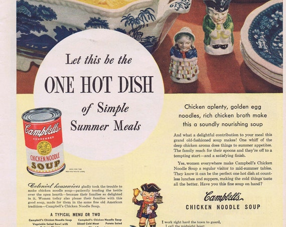 1946 Campbell's Chicken Noodle Soup and Colonial Mascot or Nabisco Shredded Wheat Original Advertisement