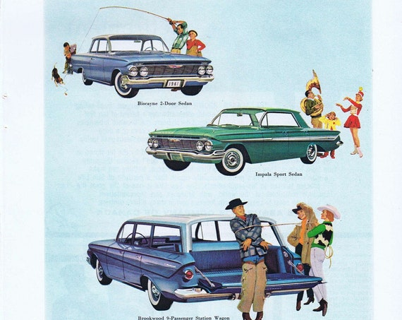 1961 Chevrolet Station Wagon, Impala and Biscayne Sedan Original Vintage Advertisement