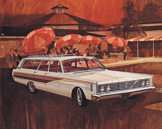 1965 Ford Mercury Colony Park Station Wagon or Magnavox Counsel Television Original Vintage Advertisement