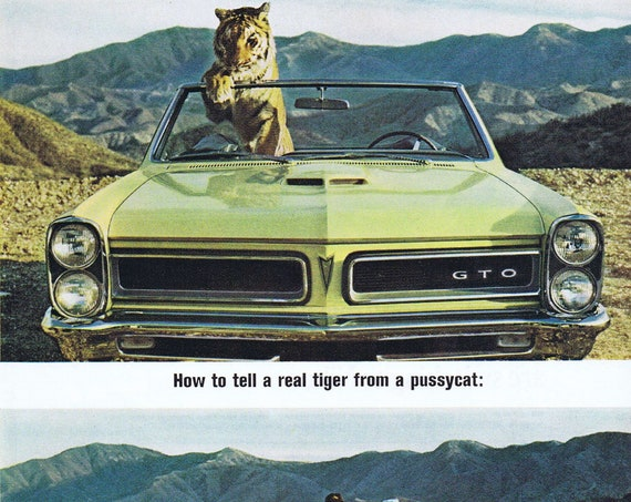 1965 GTO Convertible with Tiger and Pretty Lady Original Vintage Advertisement