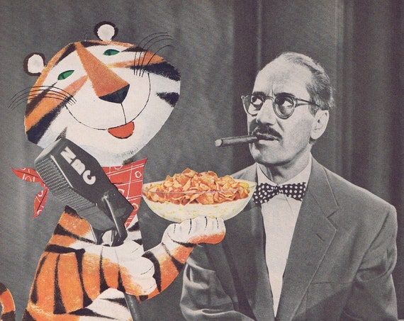 Groucho Marx You Bet Your Life and Tony the Tiger 1956 Kellogg's Sugar Frosted Corn Flakes Original Vintage Advertisement