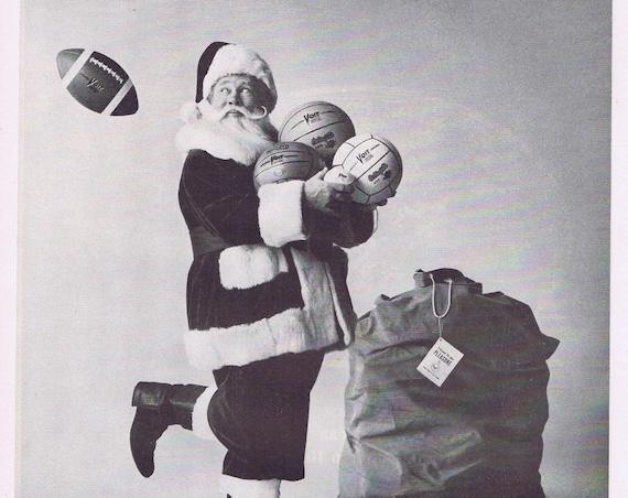 1961 Santa Claus AMF Voit Balls Original Vintage Christmas Advertisement