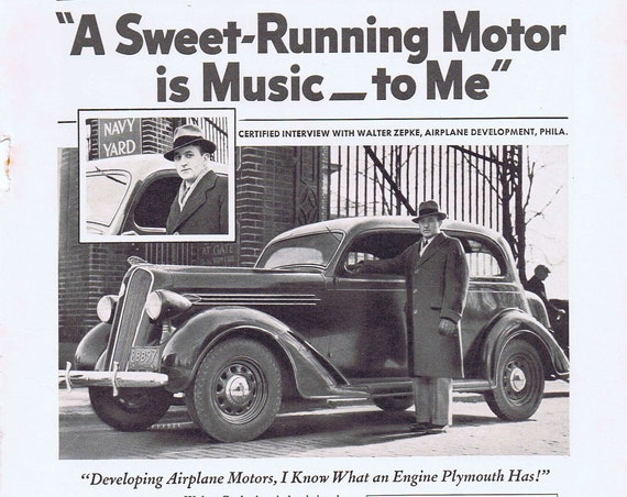 Old Plymouth 1936 Car Ad with Sweet-Running Motor