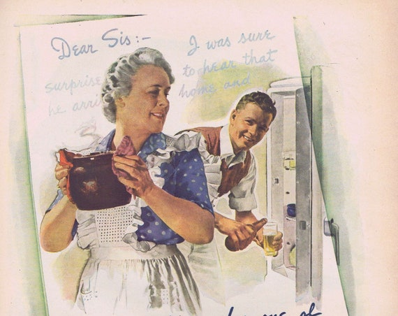 1944 WW2 Coming Home to Mom's Bean Supper or Du Barry Beauty Preparations for Blind Date with Soldier Original Vintage Advertisement
