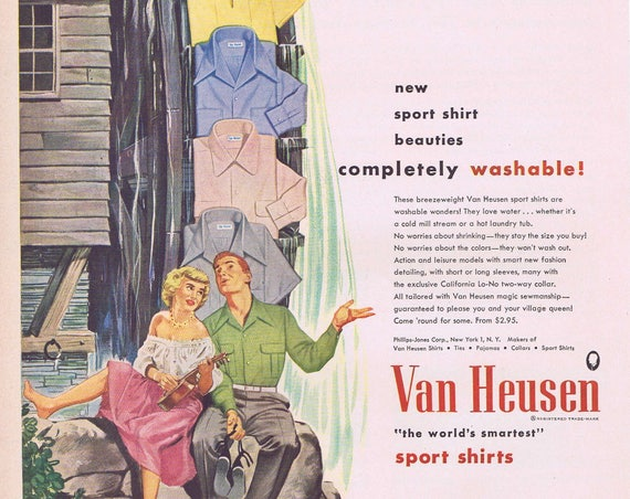 1949 Van Heusen Men's Sport Shirts or Hotpoint Electric Ranges Original Vintage Advertisement