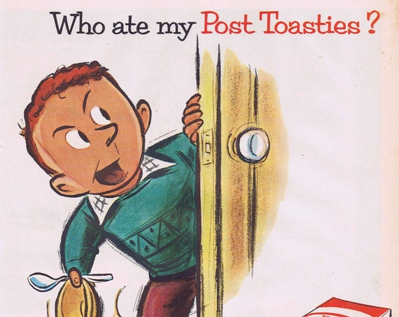 1955 Who Ate My Post Toasties and Marble Tournament with Whitney Darrow Jr. Art Original Vintage Advertisements