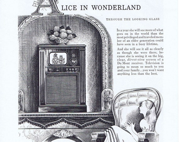 Old Dumont Meadowbrook TV and Alice in Wonderland Advertisement