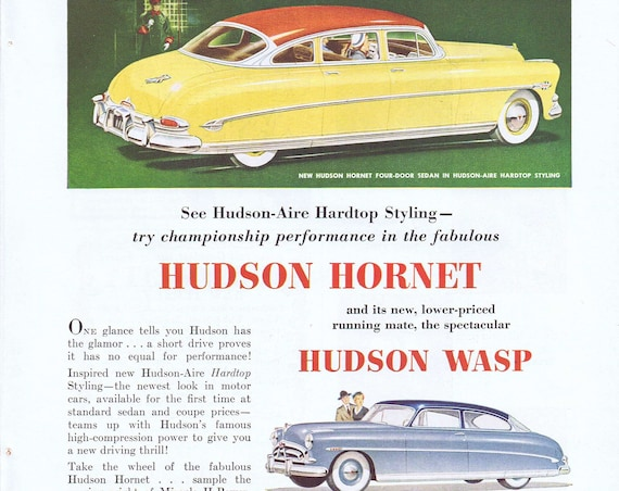 Beautiful 1952 Hudson -Aire Hardtop Hornet and Wasp Old Advertisement