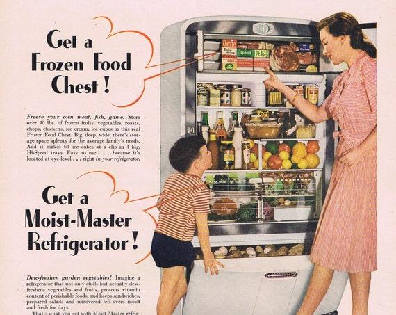 1946 Kelvinator Refrigerator Neat Vintage Photo or Pacific Balanced Sheets with John Gannam Art Original Vintage Advertisement