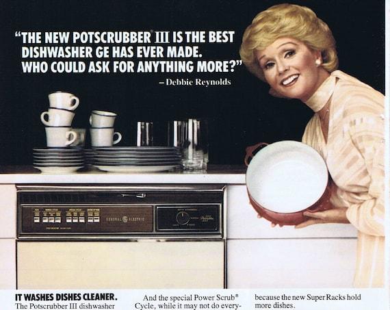 1978 Pretty Star Debbie Reynolds and General Electric Dishwasher Original Vintage Advertisement