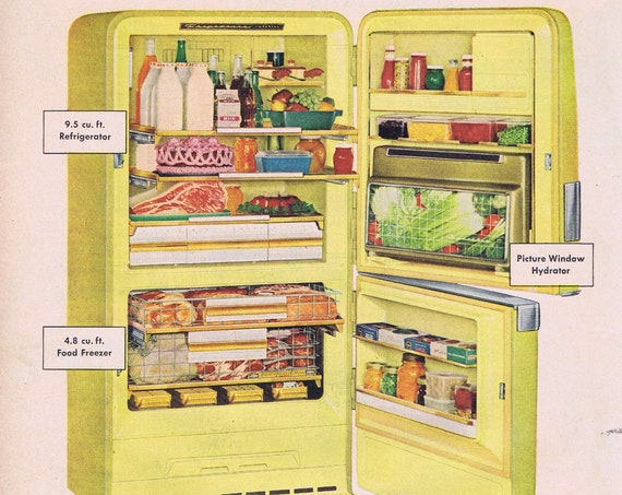 Old Frigidaire Imperial Yellow Refrigerator or Kellogg's Variety Pack Cereals Original Vintage Advertisements
