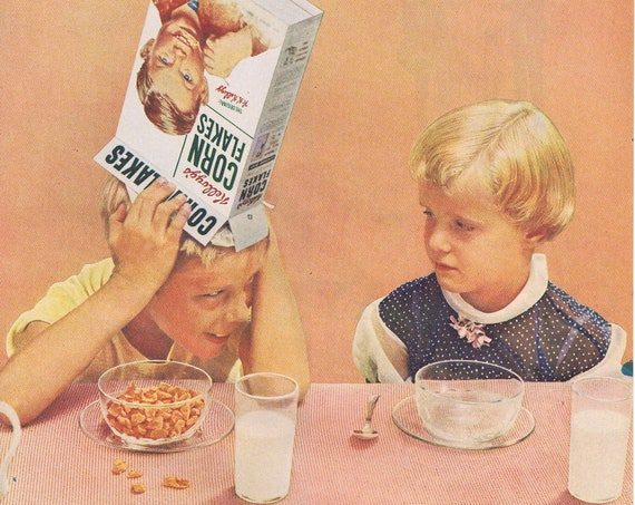 Kellogg's Corn Flakes Cereal and Brother Showing Off or Old Taylor Kentucky Bourbon Old Ad