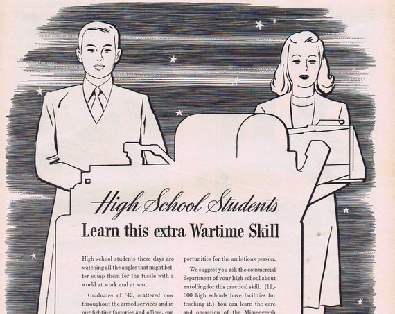 WW2 1943 High School Students Learn Wartime Skill Mimeograph Duplicator Original Vintage Advertisement at A.B. Dick Company of Chicago