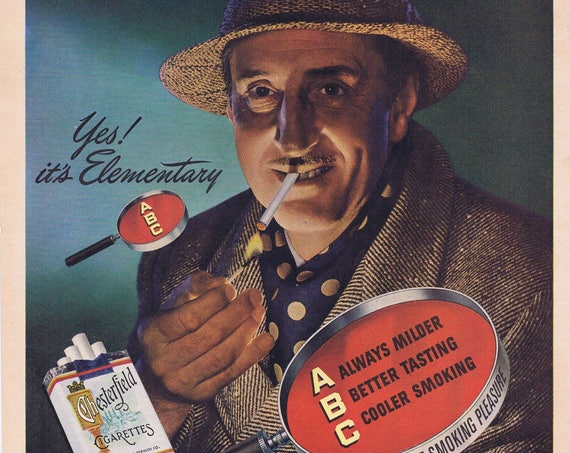 "1947 Basil Rathbone as Sherlock Holmes in ""Dressed to Kill"" Original Vintage Advertisement for Chesterfield Cigarettes"