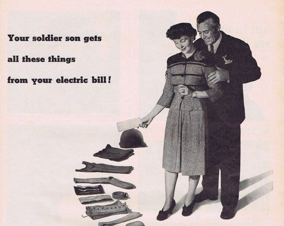 1943 WW2 Electric Light and Power Companies Original Vintage Advertisement Helping Soldier Son From Electric Bill