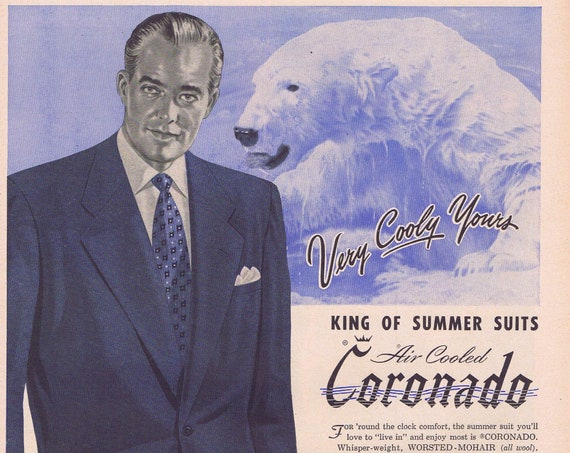 1951 Coronado Air Cooled Men's Suits with Cool-Guy and Distinguished Pose Original Vintage Advertisement