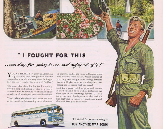1944 WW2 Soldier Homecoming Greyhound Bus or Giant Martin Mars Flying Boat Aircraft and Main Street Original Vintage Advertisement