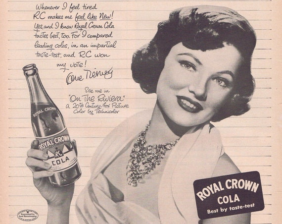 1949 Beautiful Gene Tierney Royal Crown Cola or Women's Formfit Life Bra and Girdle Original Vintage Advertisement