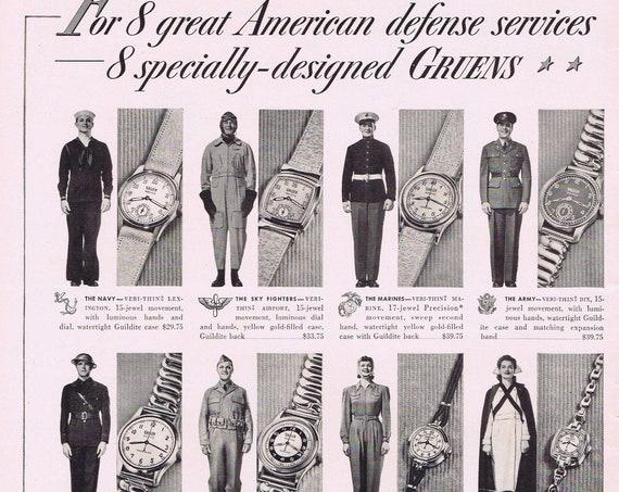 1941 WW2 Eight Specially-Designed Gruen Watches Original Vintage Advertisement