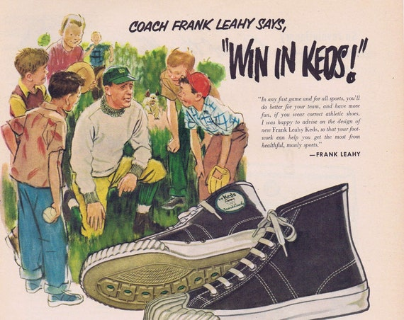 1951 Coach Frank Leahy U.S. Keds Tennis Shoes Original Vintage Advertisement by United States Rubber Company Notre Dame Coach and Player
