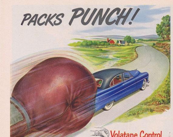1951 Texaco Sky Chief Gasoline Packs Punch Original Vintage Advertisement