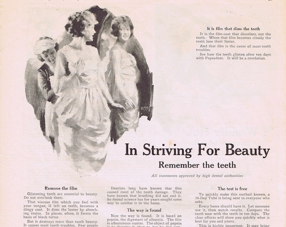 Pepsodent Beauty and Dental Care Old 1920 Large Ad with Interesting Artwork