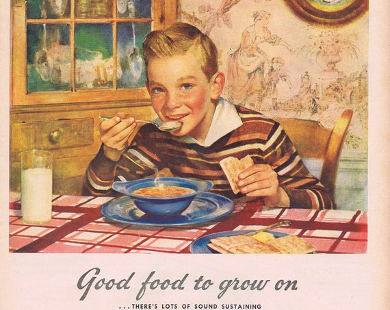 1943 Campbell's Vegetable Soup Original Vintage Advertisement Young Boy Good Food to Grow on with WW2 Wartime Meal-Planning