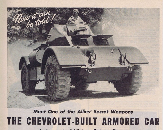 1944 WW2 Chevrolet-Built Armored Car Original Vintage Advertisement with Nice Military Pictures