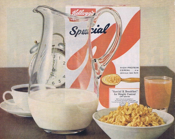 1961 Kellogg's Special K Cereal or Patio Mexican Style Frozen Foods Original Vintage Advertisements