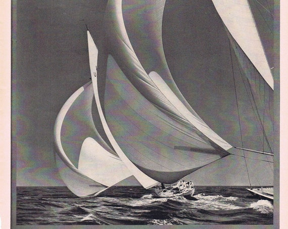 1939 Flying Spinnakers Beautiful Sailboat Photo for Agfa Photo Film Original Vintage Advertisement