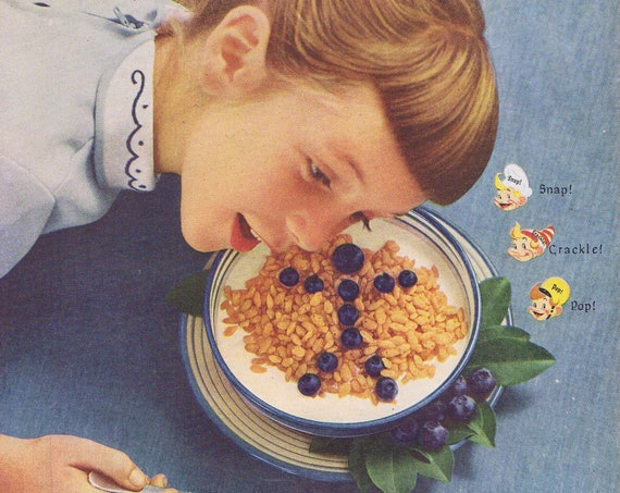 Listen to Kellogg's Rice Krispies Cereal Snap, Crackle and Pop Original Vintage 1955 Advertisement