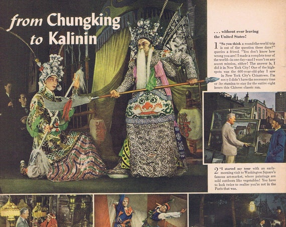 1943 From Chungking to Kalinin Around the World Trip Without Leaving the U.S. Original Vintage Advertisement for Canadian Club Whiskey