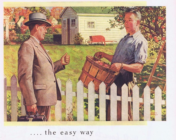 1944 Upjohn with Doctor by Fence with Man or Deer Hunting with Soldier Beer Brewing Industry Original Vintage Ad