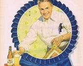 1947 Pabst Blue Ribbon Beer or Webster Cigars Broadway Limited Original Advertisement
