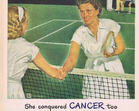 1946 She Conquered Cancer and Wyeth of Philadelphia Tribute to Medicine or Kinsey Blended Whiskey Original Advertisement